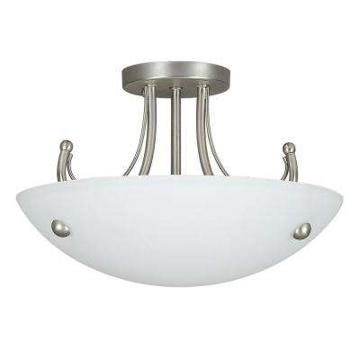 Fiscus 3-Light Satin Nickel Semi Flushmount