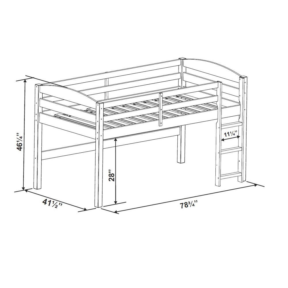 Pleasing Walker Edison Furniture Company Solid Wood Low Loft Twin Bed Customarchery Wood Chair Design Ideas Customarcherynet