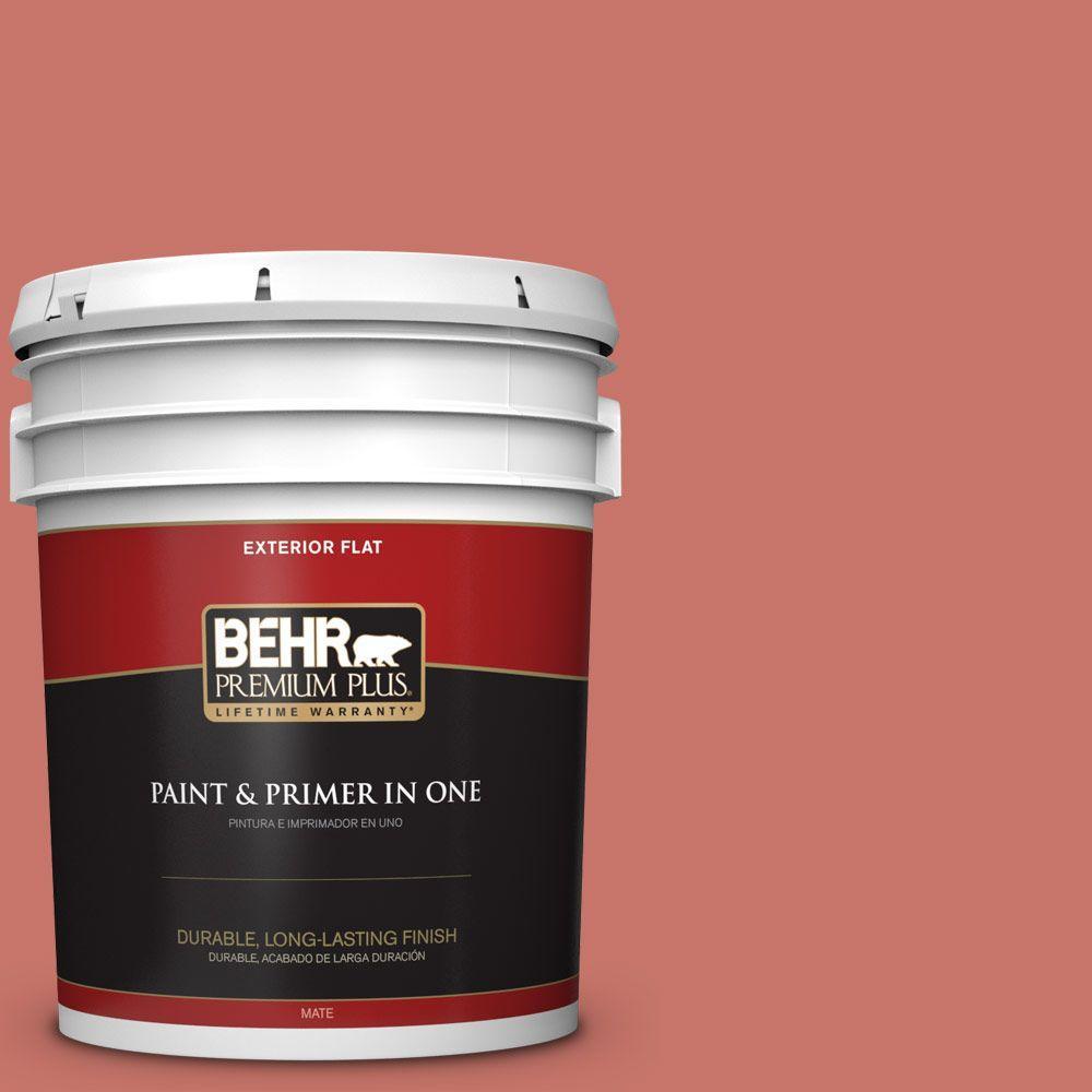 BEHR Premium Plus 5-gal. #180D-5 Sahara Sun Flat Exterior Paint