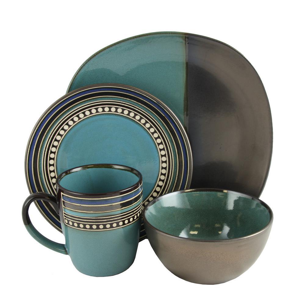 Ocean View 16-Piece Blue Dinnerware Set by