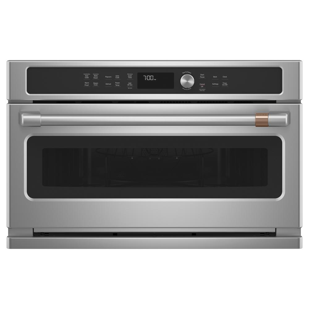 Cafe 30 in. 1.7 cu. Ft. Single Electric Convection Wall Oven with Built-In Microwave in Stainless Steel