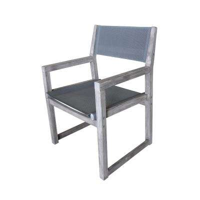 Bay Side Collection Teak Contemporary Sling Outdoor Dining Chair