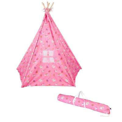 6 ft. Canvas Teepee with Carry Case in Canvas Fabric and Princess Print
