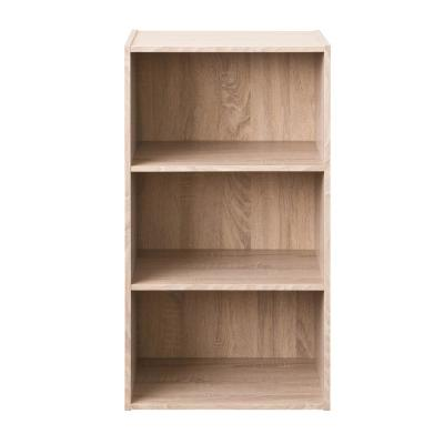 31.4 in. Brown Wood 3-shelf Standard Bookcase with Open Storage