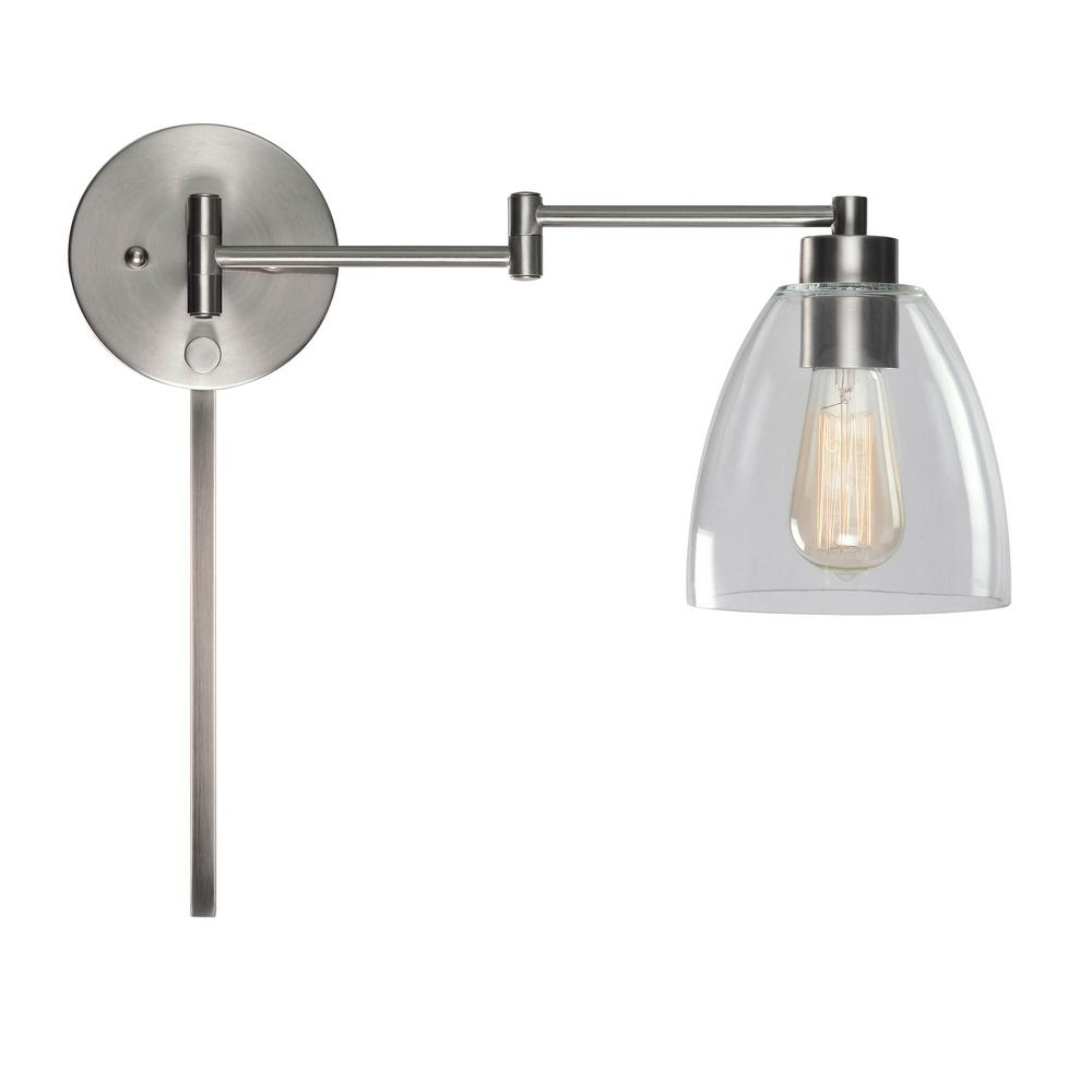 release date: 60420 46a59 Kenroy Home Edis 1-Light Brushed Steel Wall Swing Arm Light