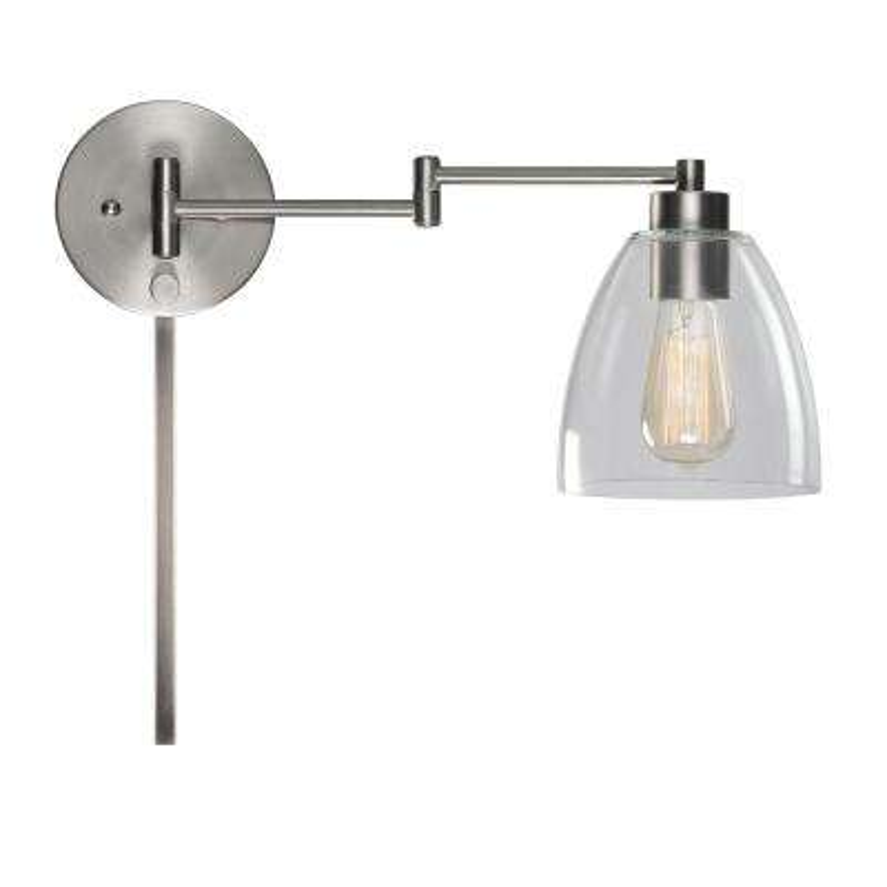 Edis 1 Light Brushed Steel Wall Swing Arm Light