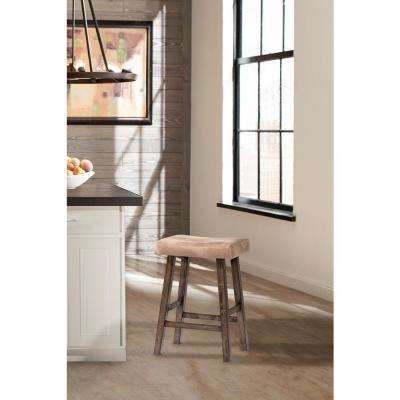 Saddle Rustic Gray Non Swivel Backless Counter Stool