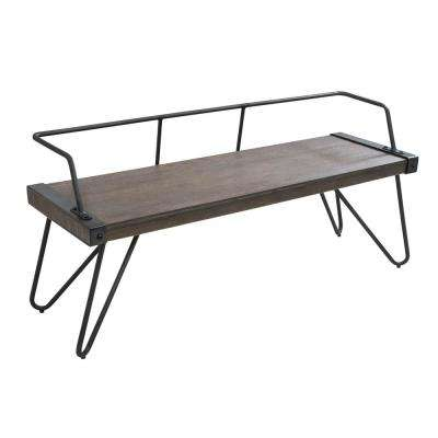 Stefani Walnut and Antique Industrial Bench