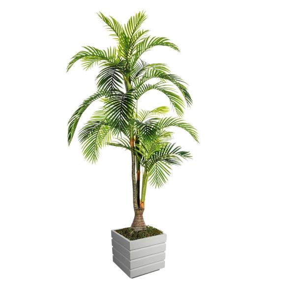 Vintage Home 90 In Tall Palm Tree Artificial Indoor Outdoor Lifelike Faux In Fiberstone Pot Vhx124211 The Home Depot