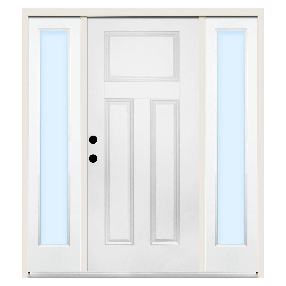 Steves & Sons 72 in. x 80 in. 3-Panel Right-Hand Primed Steel Prehung Front Door w/ 16 in. Clear Glass Sidelite and 4 in. Wall