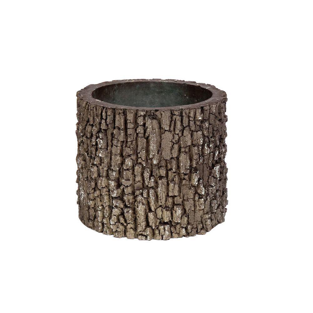 Vertical 9 in. H Oak Bark Color Polyurethane Planter