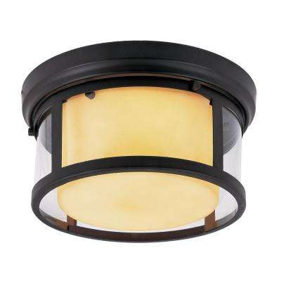 2-Light Rubbed Oil Bronze Flushmount with Opal Glass