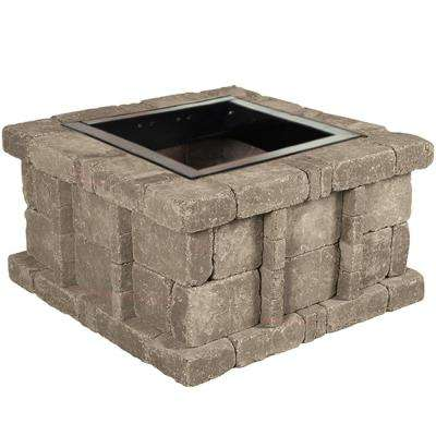 RumbleStone 38.5 in. x 21 in. Square Concrete Fire Pit Kit No. 5 in Greystone