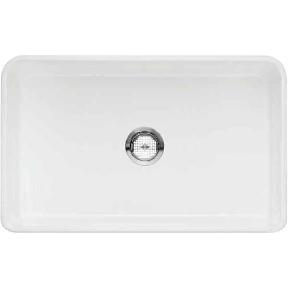 CERANA Farmhouse Apron-Front White Fireclay 30 in. Single Bowl Kitchen Sink