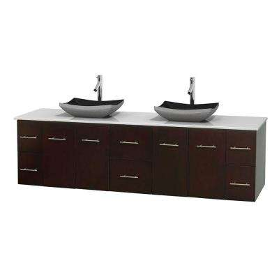 Centra 80 in. Double Vanity in Espresso with Solid-Surface Vanity Top in White and Black Granite Sinks