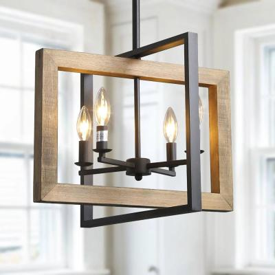 4-Light Black Modern Farmhouse Geometric Caged Wood Candelabra Chandelier LED Compatible Pendant Lighting