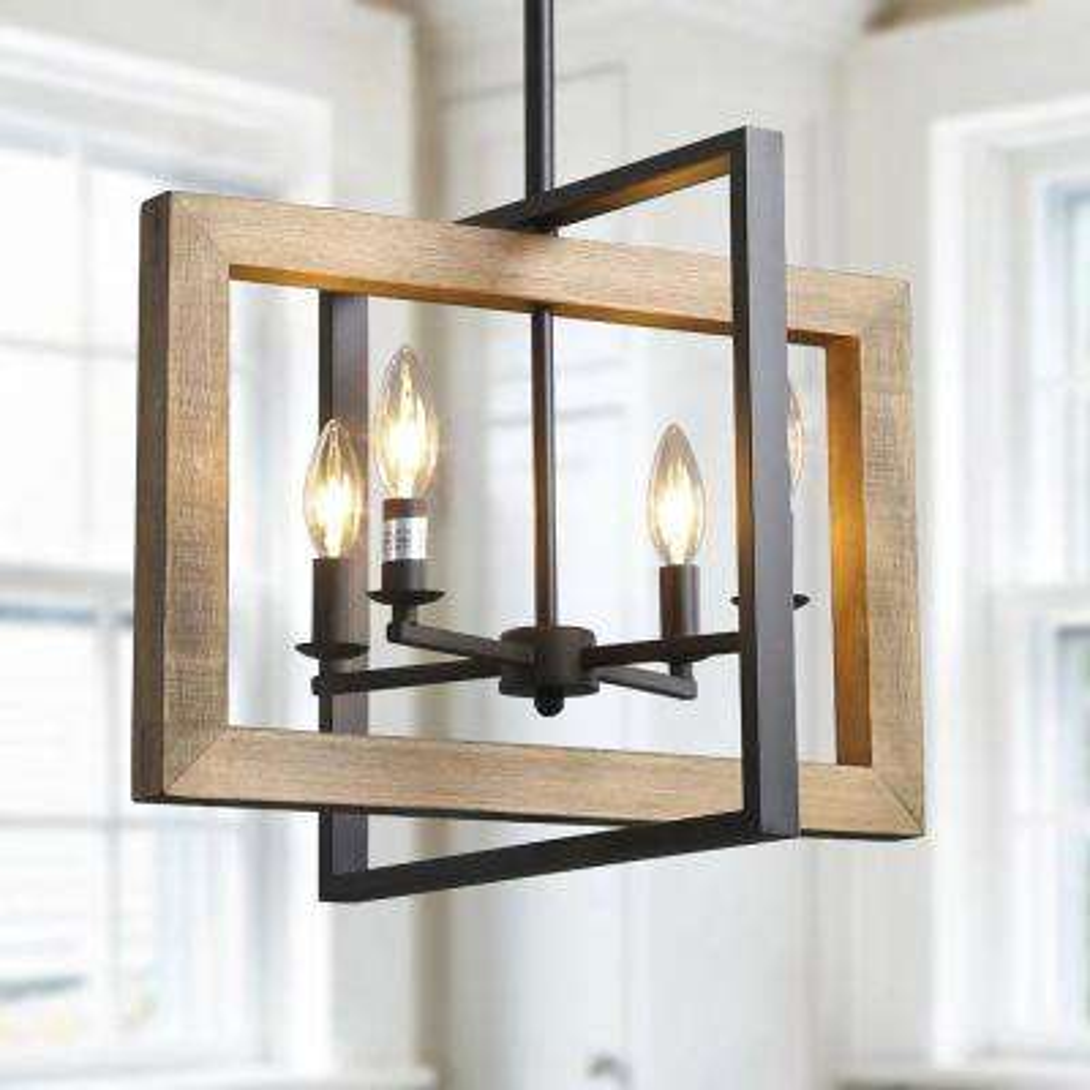 4-Light Black Modern Farmhouse Geometric Caged Wood Candelabra Chandelier LED Compatible Pendant Lighting