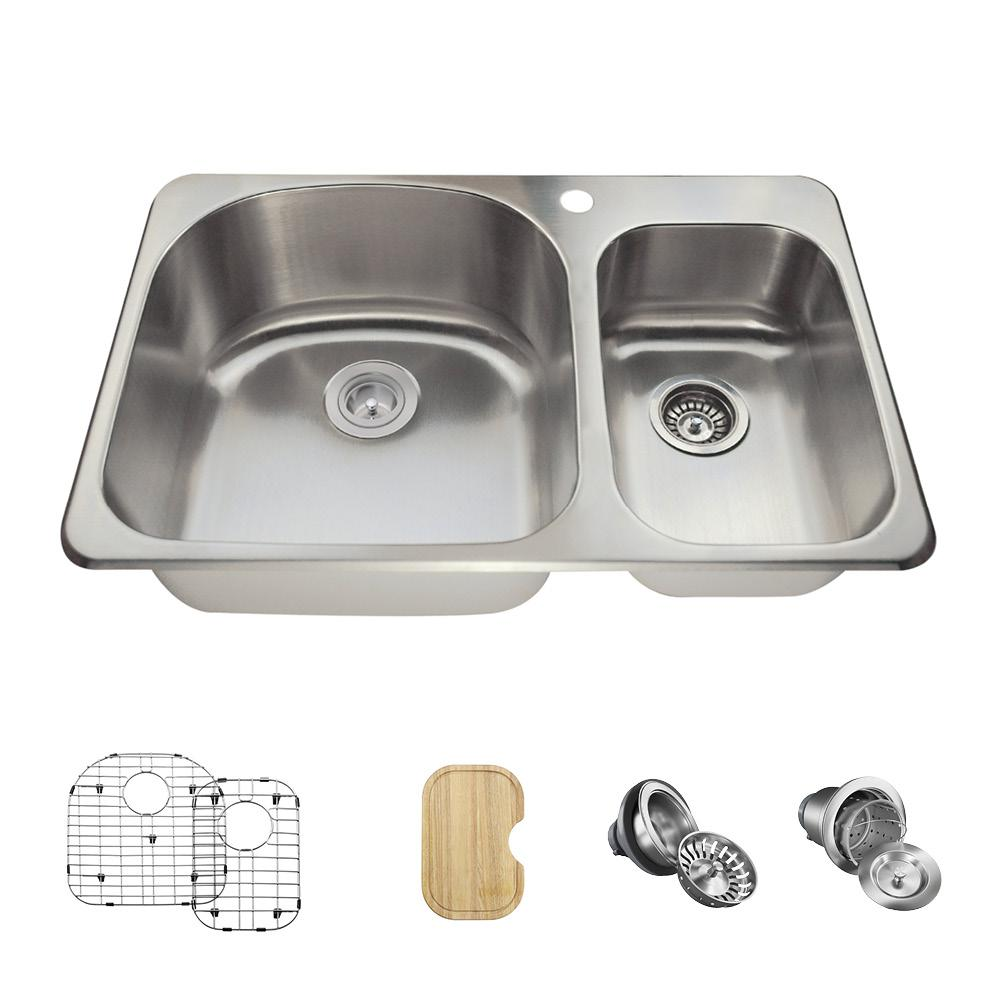 MR Direct All-in-One Drop-in Stainless Steel 32 in. 1-Hole Double ...