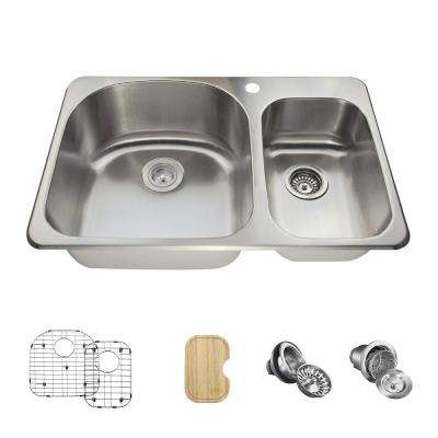 All-in-One Drop-in Stainless Steel 32 in. 1-Hole Double Bowl Kitchen Sink