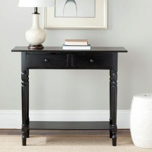 Rosemary Distressed Black Storage Console Table