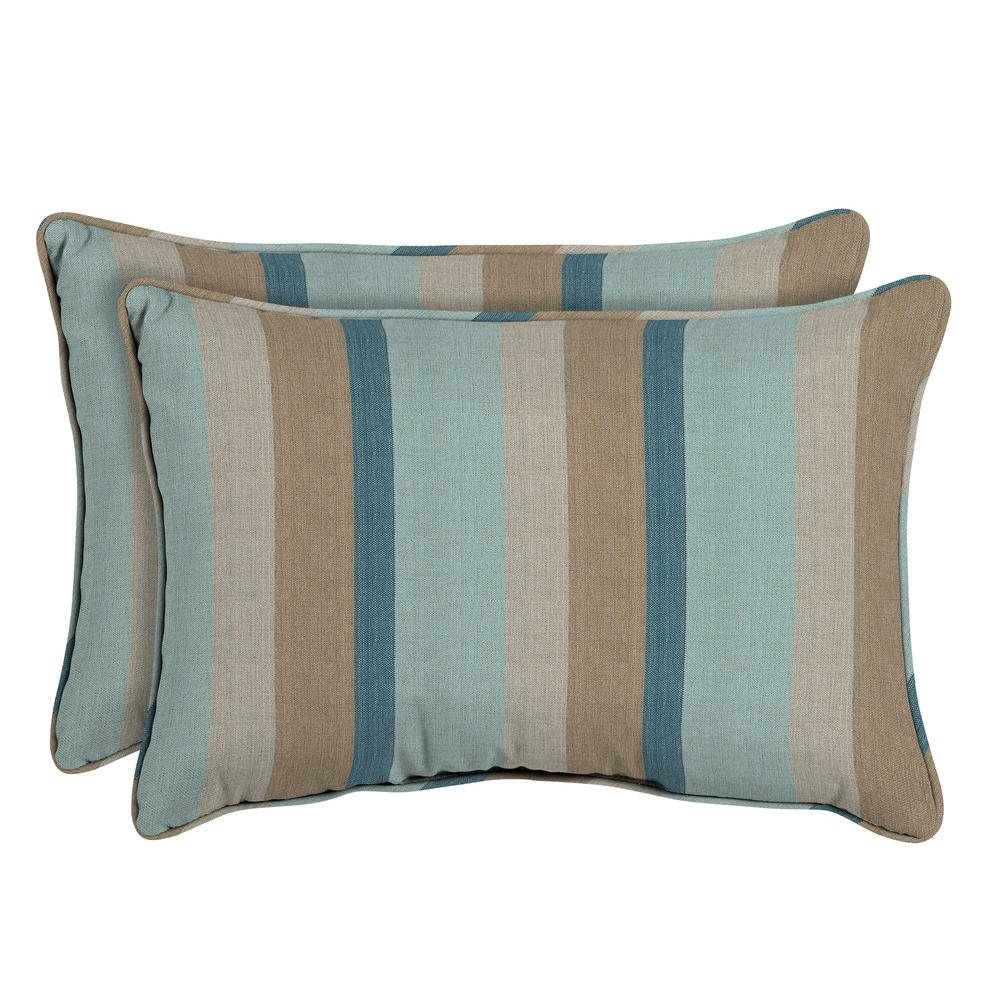 Bon Home Decorators Collection Sunbrella Gateway Mist Oversized Lumbar Outdoor  Throw Pillow (2 Pack)