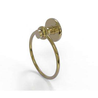 Mercury Collection Towel Ring with Twist Accent in Unlacquered Brass
