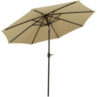 9 ft. Aluminum Market Auto Tilt Patio Umbrella in Sunbrella Beige