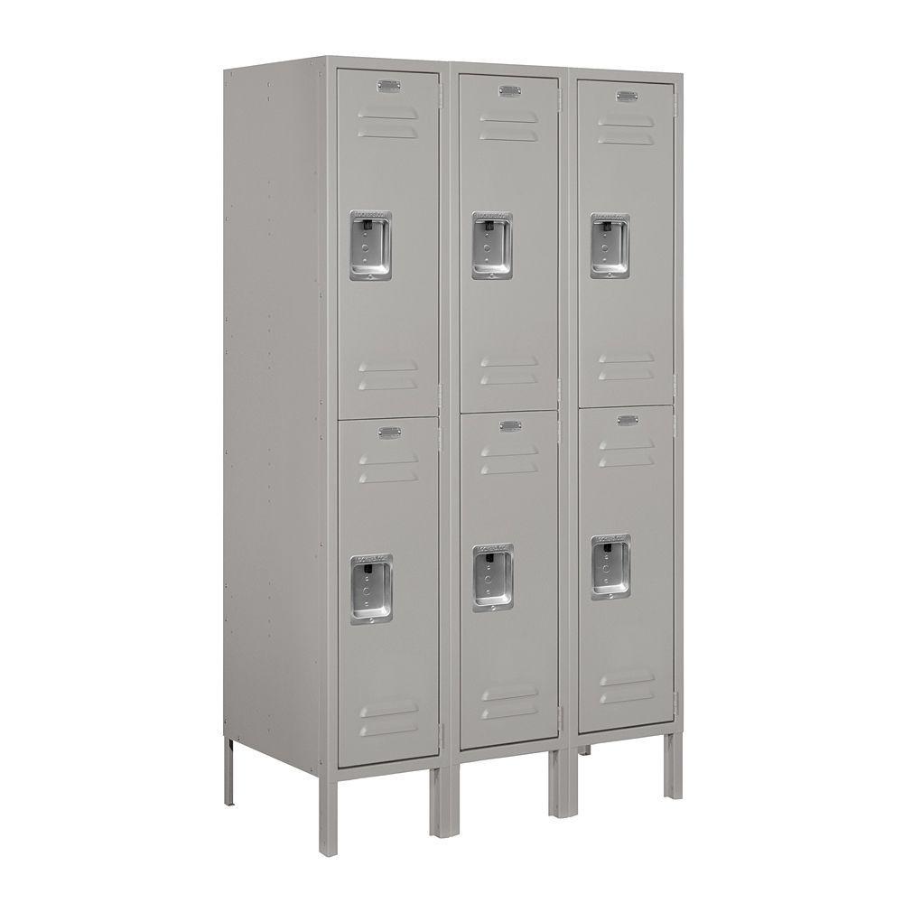 62000 Series 36 in. W x 66 in. H x 18 in. D 2-Tier Metal Locker Unassembled in Gray