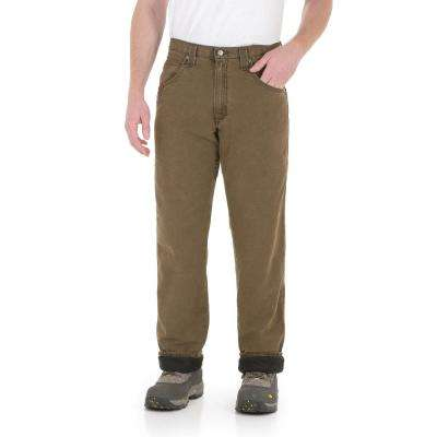 Men's Size 33 in. x 34 in. Night Brown/Black Lined Relaxed Fit Jean