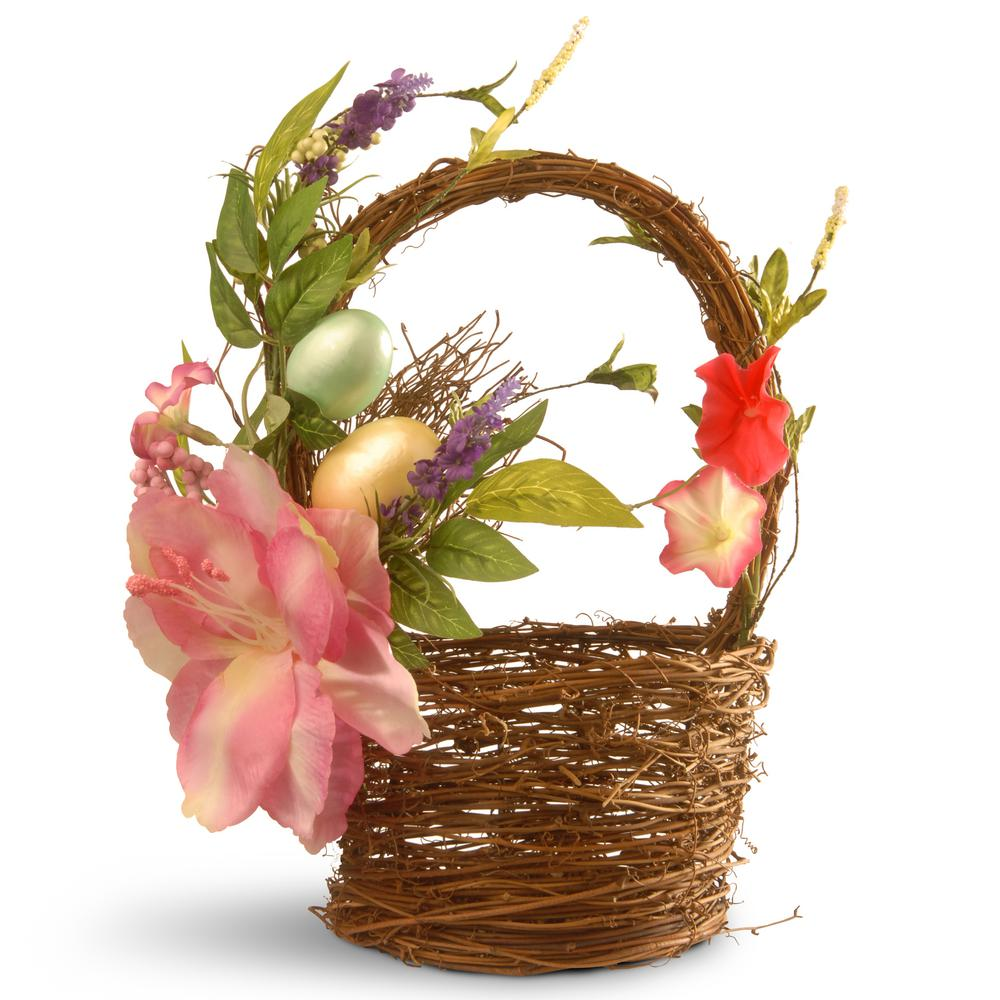 National Tree Company 6.7 in. Decorated Basket with Tulips and Easter Eggs