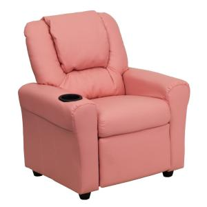 Contemporary Pink Vinyl Kids Recliner with Cup Holder and Headrest