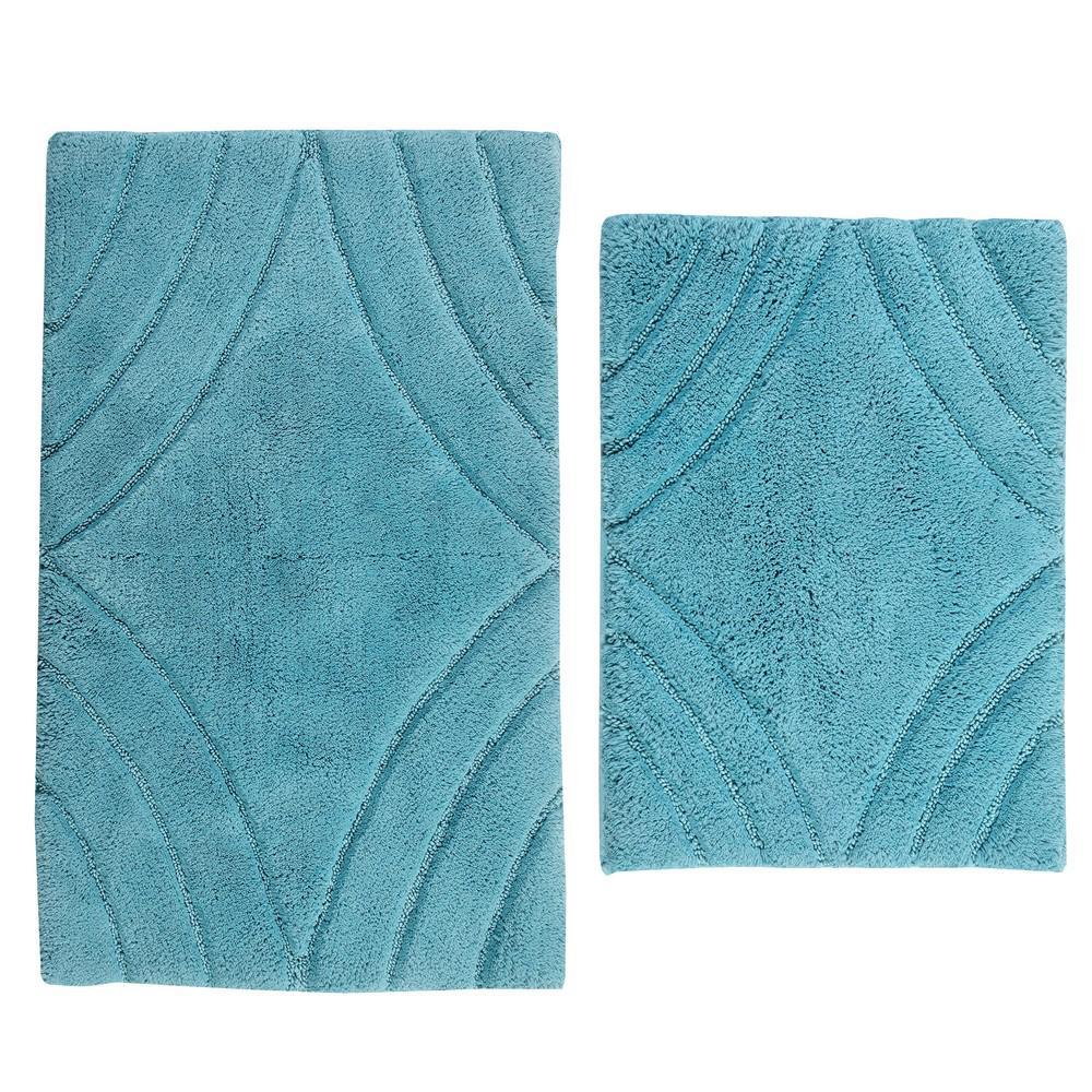 Aqua 21 in. x 34 in. and 24 in. x 40 in. Diamond Bath Rug Set (2-Piece)