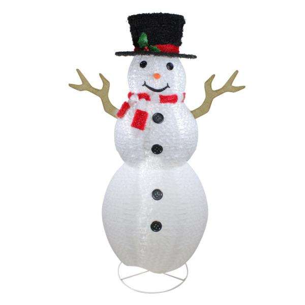 6 ft. Pre-Lit Outdoor Chenille Swirl Large Snowman With Top Hat Christmas Outdoor Decoration