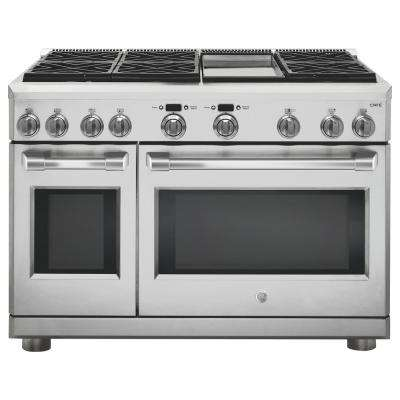 Cafe 48 in. 8.25 cu. ft. Dual Fuel Range with Self-Cleaning Professional Convection Oven in Stainless Steel