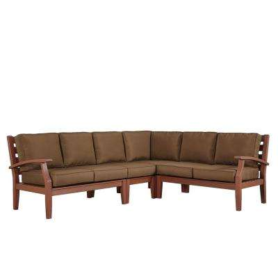 Verdon Gorge Brown 3-Piece Oiled Wood Outdoor Sofa with Brown Cushions