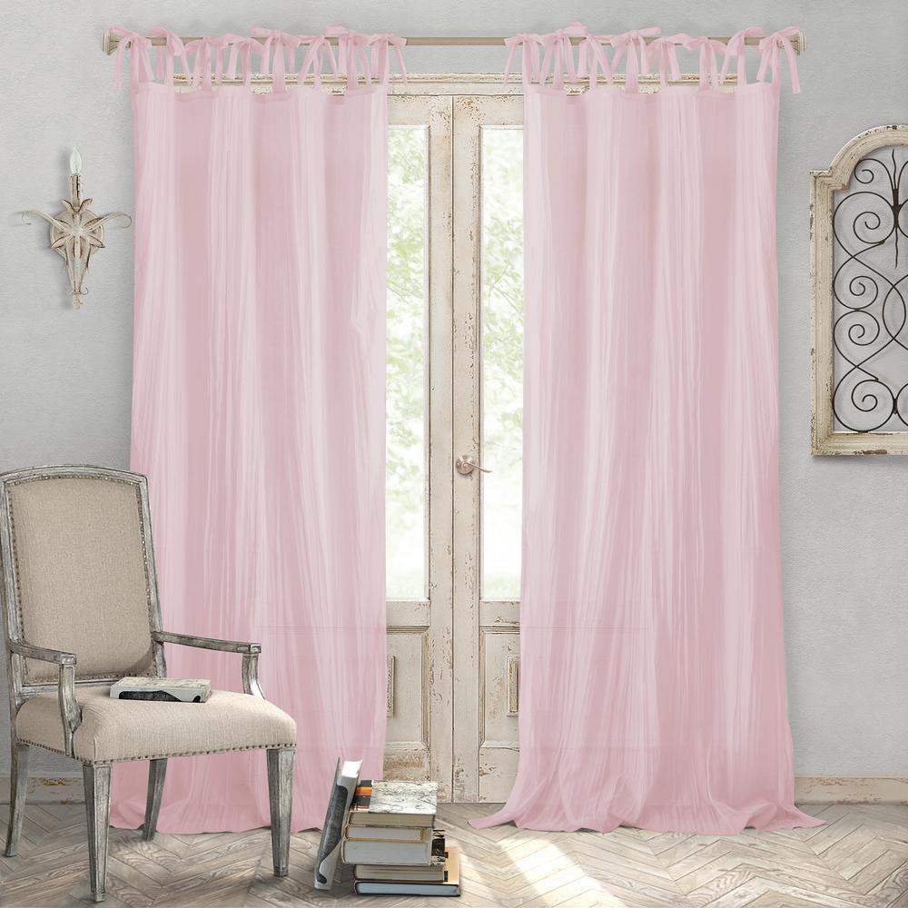 Jolie Blush Crushed Semi Sheer Tie Top Window Curtain - 52 in. W x 84 in. L,