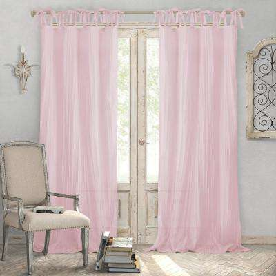 Jolie Blush Crushed Semi Sheer Tie Top Window Curtain