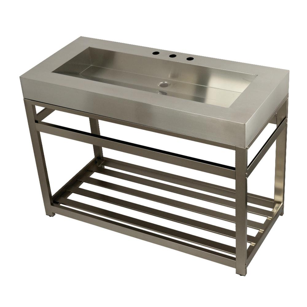 Kingston Brass 49 in. W Bath Vanity in Brushed Nickel with Stainless Steel Vanity Top in Silver with Silver Basin