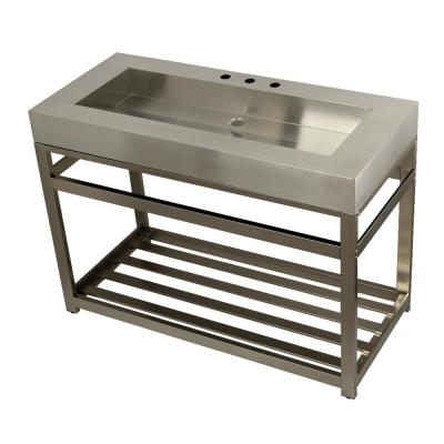 49 in. W Bath Vanity in Brushed Nickel with Stainless Steel Vanity Top in Silver with Silver Basin