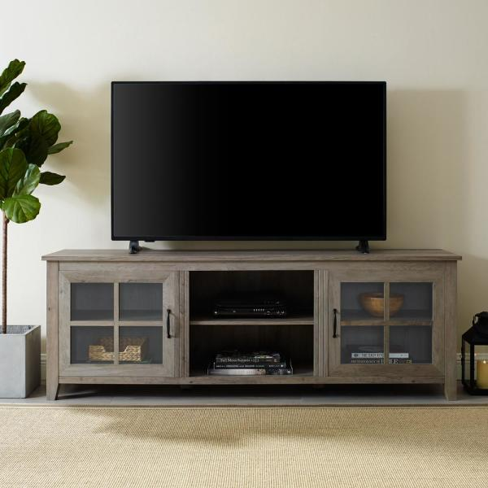 Walker Edison Furniture Company 70 in. Grey Wash Farmhouse Wood TV