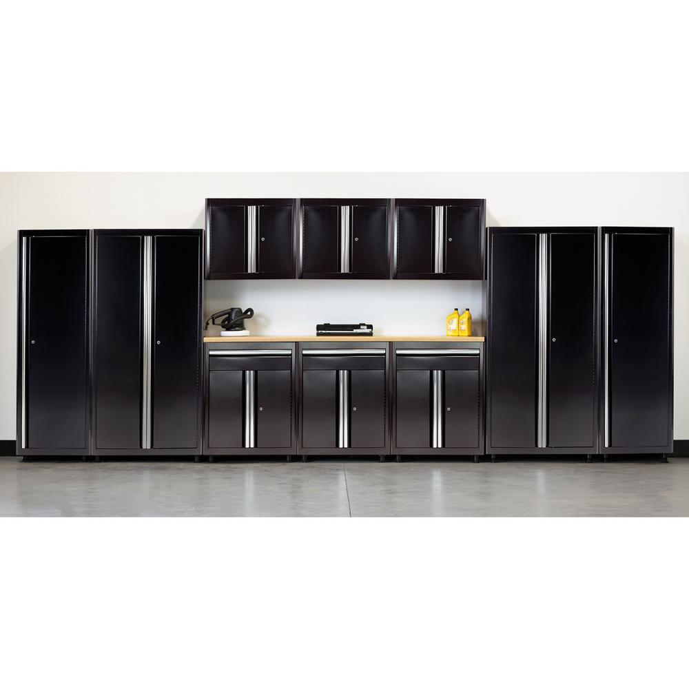 75 in. H x 210 in. W x 18 in. D Welded Steel Garage Cabinet Set in Black (11-Piece)