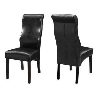 Everyday Collection Black Leatherette Dining Side Chair (Set of 2)