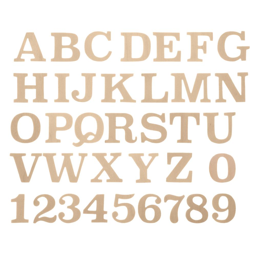 Darice Darice Full Alphabet Vintage Font Bag of Wooden Letters in Unfinished Wood (36-Piece)