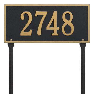Hartford Rectangular Black/Gold Standard Lawn 1-Line Address Plaque