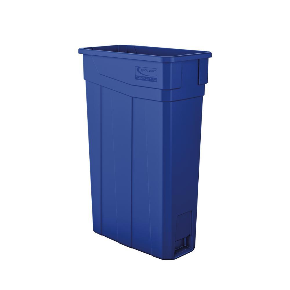 Slim 23 Gal. Blue Plastic Trash Can