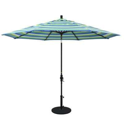 11 ft. Black Aluminum Pole Market Aluminum Ribs Crank Lift Outdoor Patio Umbrella in Seville Seaside Sunbrella