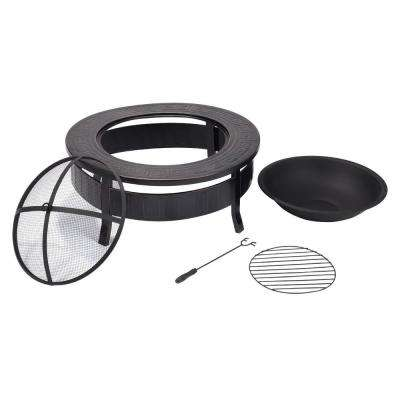 32 in. H Metal Round Firepit Patio Garden Stove Chimenea