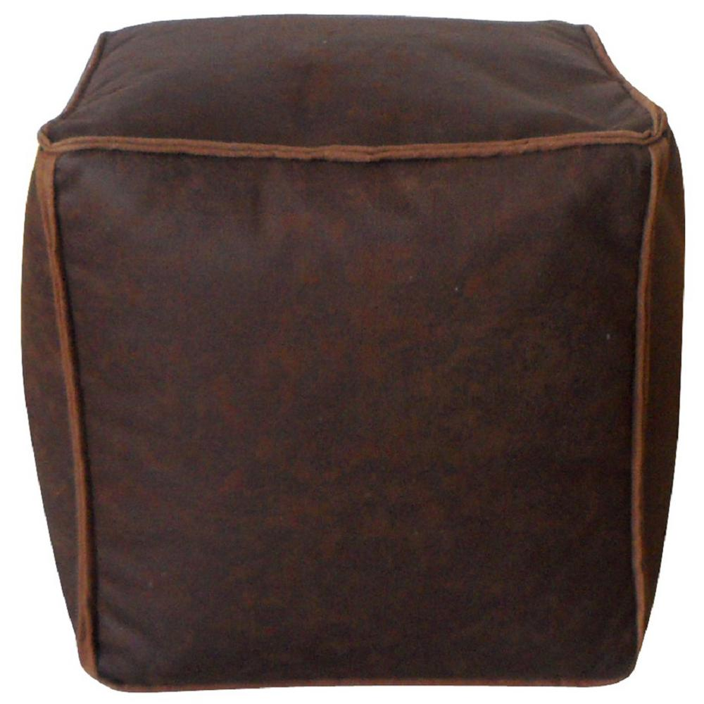 Avery Brown Antique Faux Leather Bean Bag Pouf