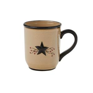 Star Vine 16 oz. Beige Ceramic Coffee Mug (Set of 4)