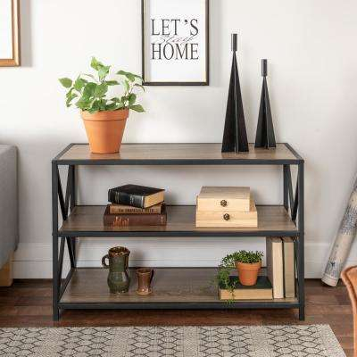40 in. Industrial Wood Bookcase - Driftwood